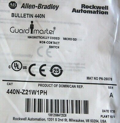 New Allen Bradley 440N-Z21W1Ph Guardmaster Magnetically Coded Non-Contact Switc