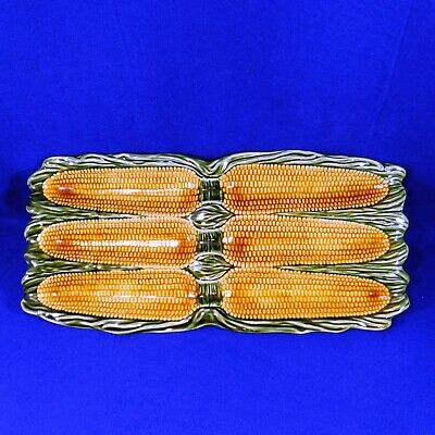 Large Majolica Platters - CORN ON THE COB - Olfaire - Portugal - Ceramic - 16""