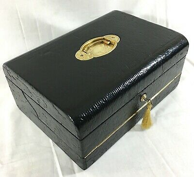 MAPPIN & WEBB C1900 Rare Antique Quality Writing Case Slope Leather Gilt Quality