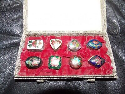 Set of 8 Different Chinese Cloissone Trinket Box Vintage Enamel boxes in box