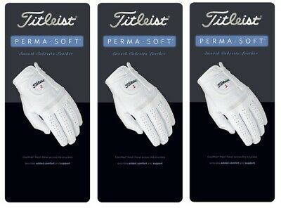 Titleist Golf Perma Soft Cabretta Leather Golf Glove Left Hand 3 Pack -Pick Size