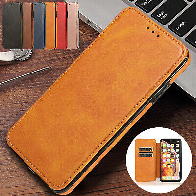 For iPhone 6s 7 8 Plus XS Max XR Case Retro Leather Flip Magnetic Wallet Cover