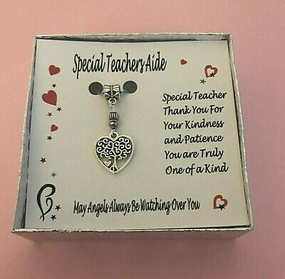 Special Teachers Aide Tree of Life Heart Gift Boxed Charm Necklace FREE SHIPPING