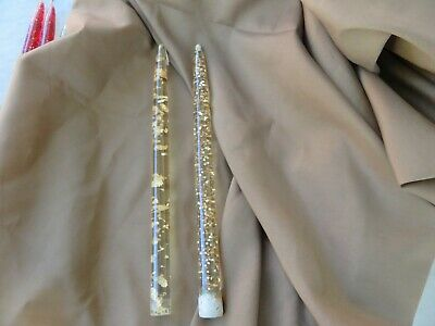 2 Vintage Gold Acrylic Lucite Flake Glitter Confetti Taper Candles Mid Century