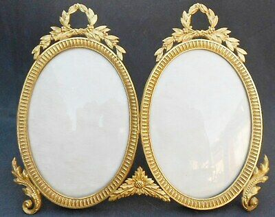 Antique Metal Ormolu Gilt Bronze French Double Picture Frame-¡¡PERFECT/UNUSED!!