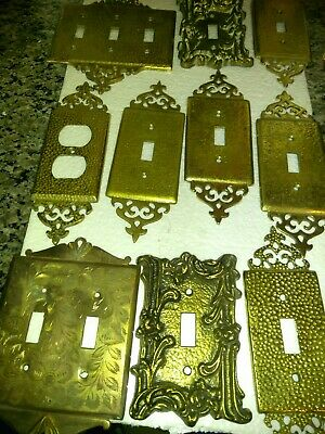 7 Glo-mar Art Work Ink Light Switch Covers & 4 more plates all Brass 11 Pices