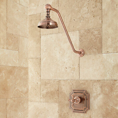 Signature Hardware Vintage Shower Set With Cross Handle in Antique Copper