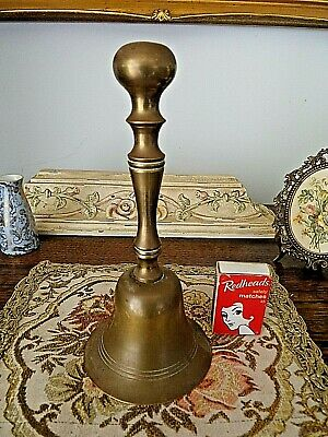 Solid Old Brass Bell 19cm Indian Heavy, Lead Ringer, Ornate Handle, Sticker Loud