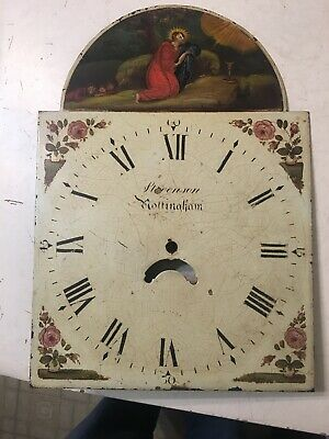 Antique Grandfather Clock Dial W/ Religious Painting Jesus Golden Holy Chalice