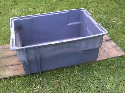PLASTIC STORAGE BOX x1 INDUSTRIAL, HEAVY DUTY, STACKABLE. 630 x 430 x 280mm GREY