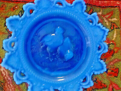Westmoreland Blue Opalescent Open Edge Two Chicks Plate
