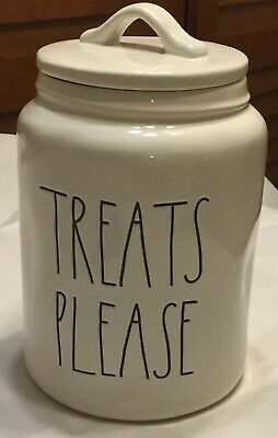 RAE DUNN Artisan Collection TREATS PLEASE Canister With Lid By Magenta NEW