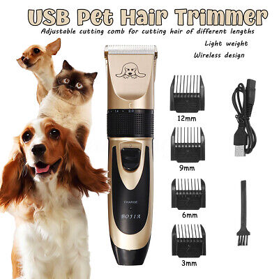 Rechargeable Electric Pet Clipper Dog Cat Hair Trimmer Comb Grooming Clippers AU