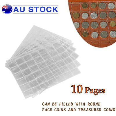10PCS 42 Pockets Coin Holders Folder Pages Collection Album Storage Book Sleeve