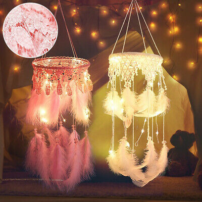 LED Dream Catcher with Feathers Car Home Wall Hanging Handmade Dreamcatcher Gift