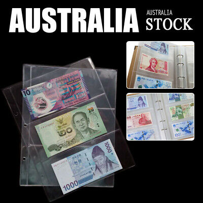 10X Paper Money Banknote Collecting Holders Album 3 Pockets Sleeves Storage Page