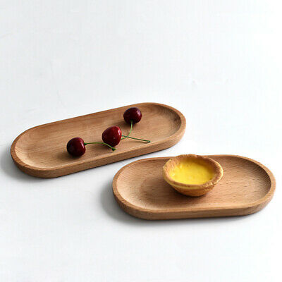 2 pcs Oval Food Tray Solid Wood Decorative Creative Fruits Dish Plates for Bread