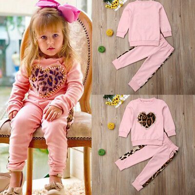 AU Toddler Kid Baby Girl Winter Clothes Leopard Tops Long Pants Outfit Tracksuit