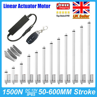 12V Linear Actuator 1500N 50mm-600mm Electric Wireless Motor Control w/Bracket