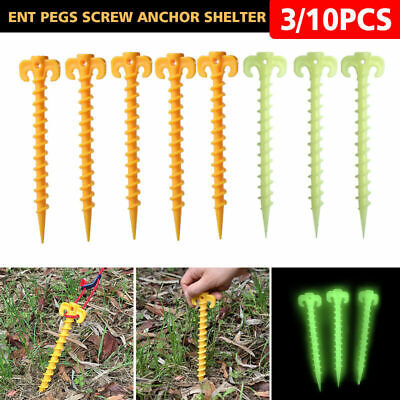 3/10pcs Plastic Hook Stakes Support Ground Nails Tent Pegs Screw Anchor Shelter