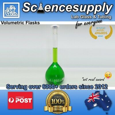 Volumetric flasks ALL SIZES chemistry glass borosilicate science measuring