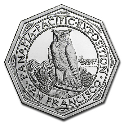 2 oz .999 FINE Silver High Relief Octagonal Panama-Pacific - IN STOCK!!