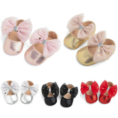Toddler Intant  Kids Baby Girls Boys Sequin Cute Bow First Walk Hook&Loop Shoes