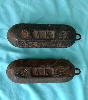 """Antique MORBIER CLOCK WEIGHTS - Measure 8 3/8"""" Long and Weigh 8.2 & 8.8 (Lb.Oz)"""