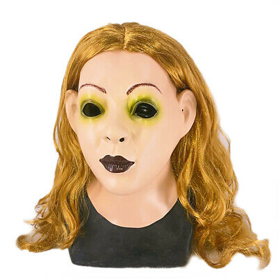 Realistic Adults Human Face Halloween Latex Full Head Female Mask with Hair Cos