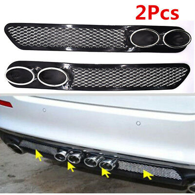 2pc Car Rear Grid Simulation Vent Double Tube Exhaust Pipe ABS Exterior Decor