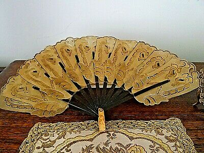 Rare Antique Animal Skin Hand Made Fan Gold Embellishments, Pierced, Oriental