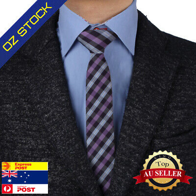 Mens Skinny Neck Ties Set Purple Tie Blue Patterned Double Sided Epoint EAEF0064