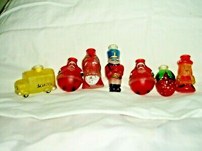 """Vintage lot of 7 Glass Hand Painted """"OLD WORLD CHRISTMAS"""" TREE LIGHT BULB COVERS"""