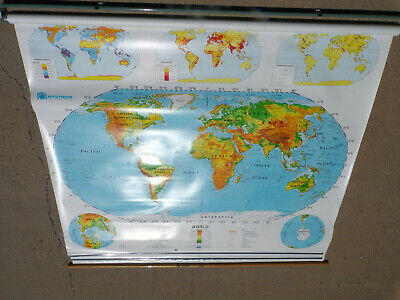 Nystrom Pull Down Map Used Classroom Nystrom Paper Globe US & World -- 4 Layer