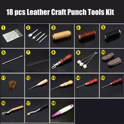 18x Leather Craft Punch Tool Kit Stitching Carving Working Sewing Saddle Groover