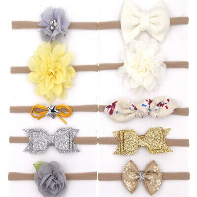 10pcs/set  Newborn Baby Girl Bow Elastic Headband Headwrap Photo Props Acces