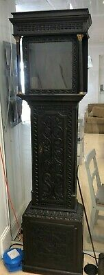 Good Carved Oak Antique Longcase Grandfather Clock Case For 12ins Square Dial