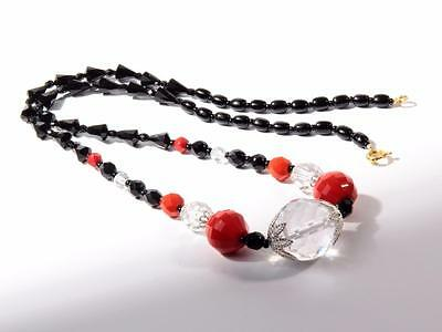 "22"" Vintage Czech necklace black red crystal faceted cone round oval glass beads"