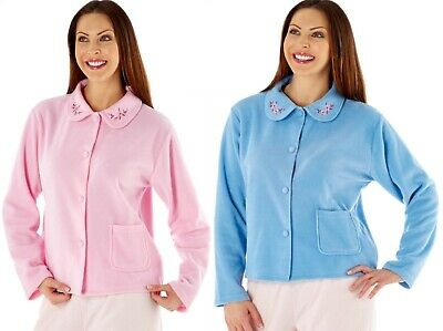 Lady Selena Soft Fleece Warm Traditional Button Bed Jacket