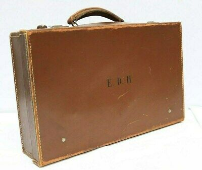 VINTAGE English Brown Tan Leather Hard Briefcase Attache Case - 254