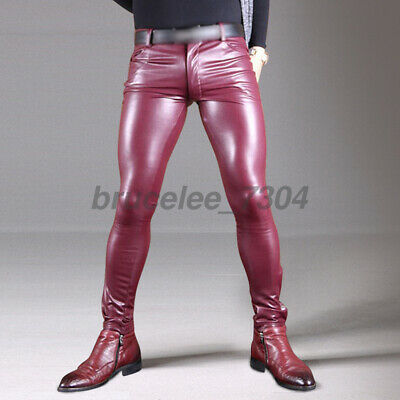 Neu Herren Kunstleder Wetlook Glanz Faux Latex PU Lang Hosen Trousers Clubwear