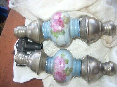 Two Pieces Of Blue Floral Antique Porclain And Brass Bed Knobs Off Brass Bed