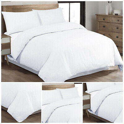 Luxury Egyptian Cotton White Duvet Quilt Cover Bedding Set Single Double King UK