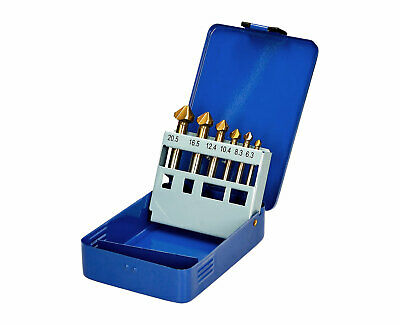 6-tlg Countersink Set HSS Sink Drills Deburring Set Sinker Cone 6,3 - 20,5 MM