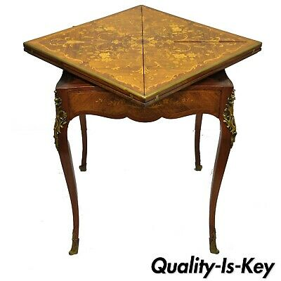 Antique French Louis XV Rosewood Satinwood Inlay Napkin Folding Card Game Table