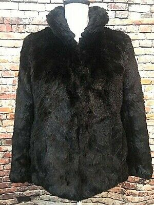 TALBOTS Black Fuax Fur Coat Jacket, Hook/Eye Closure, Pockets, Lined, Sz Small