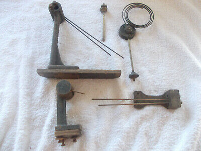 vintage used clock parts, 3 westminster chimes holders and a gong, some rods.
