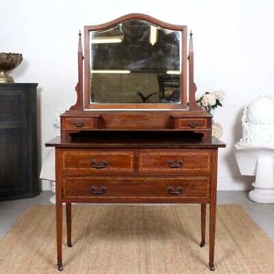 Antique Victorian Dressing Table Chest of Drawers Inlaid Mahogany Mirror
