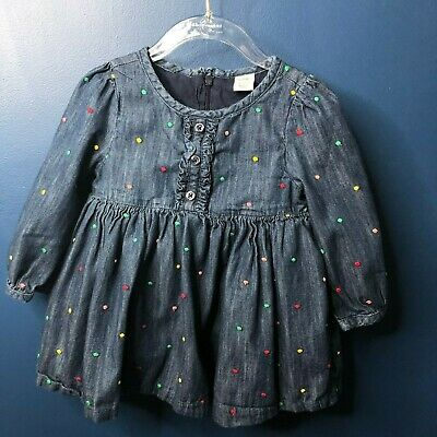 Baby Gap 18 24 Girls Denim Multi Colored Embroidered Dot Dress EUC