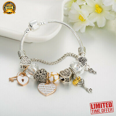 """Authentic Pandora SILVER FASHION BRACELET WITH """"Love Story"""" EUROPEAN CHARMS"""